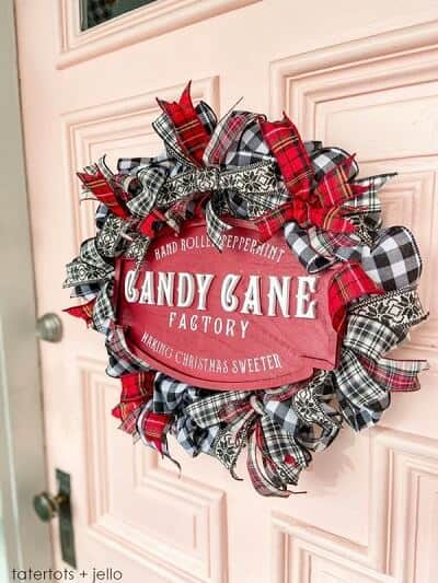 Easy Plaid Ribbon Holiday Wreath
