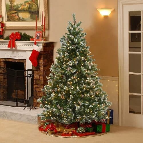 Glittery Green Pine Artificial Christmas Tree with Clear Lights
