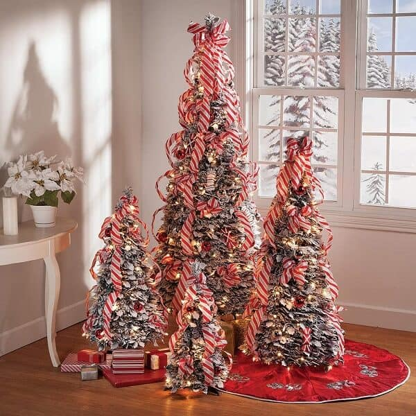 Snow Frosted Candy Cane Pull-Up Tree available in 4 sizes