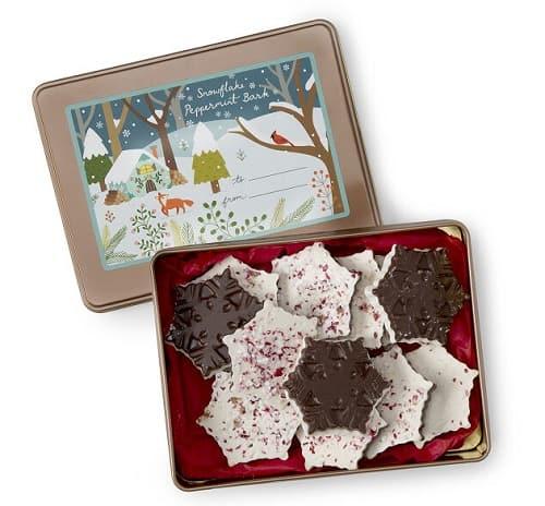 Snowflake Peppermint Bark Tin