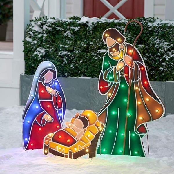 Beautiful LED Light-up Outdoor Christmas Nativity Scene
