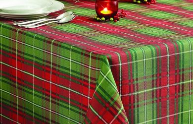 Christmas Tablecloths - Christmas Plaid Tablecloth Red-Green