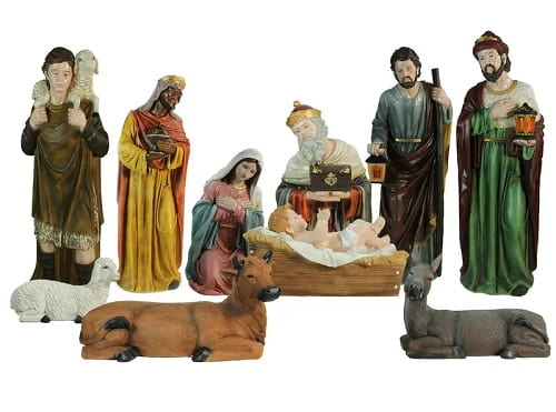 Multi-Color Religious Christmas Nativity Figurine Set | Outdoor Christmas Nativity Sets