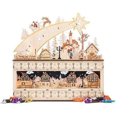 Shooting Star Snowy Village Wooden Christmas Advent Calendar