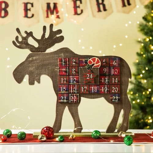 Wooden Moose Christmas Countdown