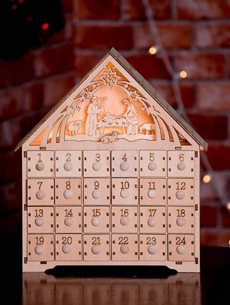 Wooden Nativity Scene Advent Calendar - Traditional Nativity Advent Calendar
