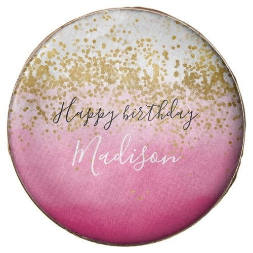 Personalized Gold Confetti Dots Chocolate Covered Oreo Cookies