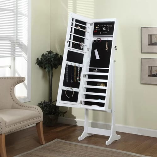 Lighted Jewelry Armoire with Mirror
