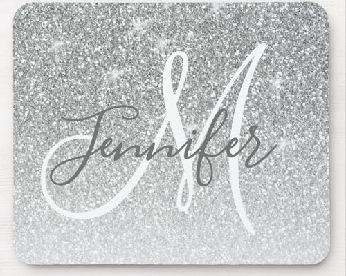 Silver Glitter Monogram Name Mouse Pad