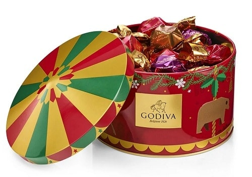 Godiva Holiday Carousel G Cube Tin