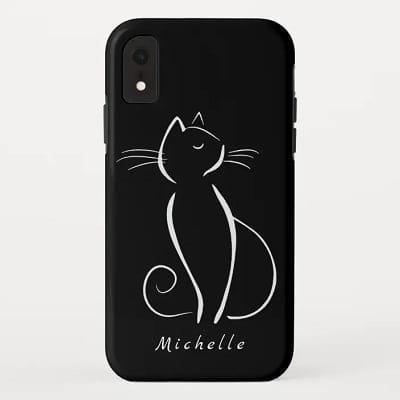 Personalized Minimalist White Cat Phone Case