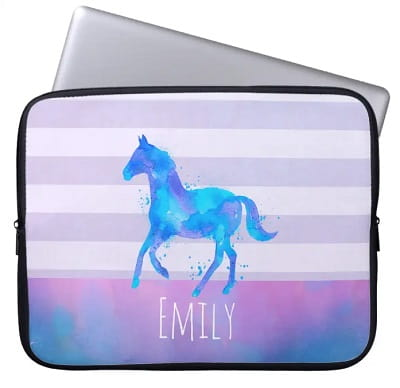 Personalized Wild Horse Watercolor Laptop Sleeve