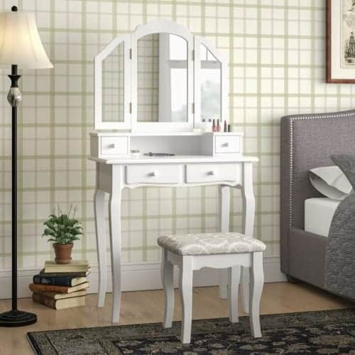 Lizbeth Solid Wood Vanity Set with Mirror