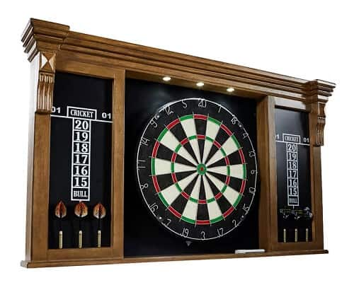 Woodhaven Premium Bristle Dartboard and Cabinet Set with Darts