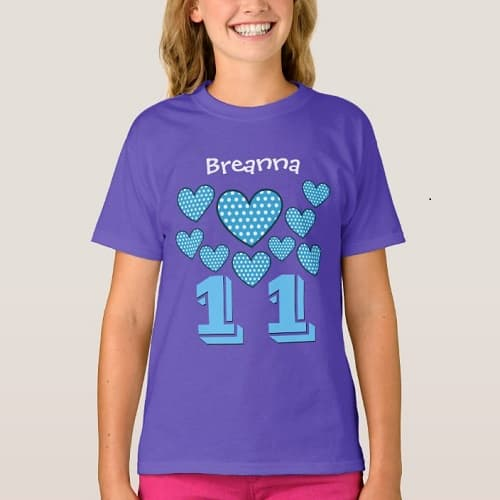 Personalized 11th Birthday T-Shirt for Girls