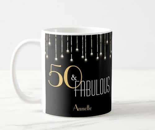50 & Fabulous Black Gold Elegant Coffee Mug