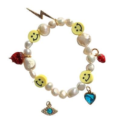 Adjustable Smiley Charm Bracelet
