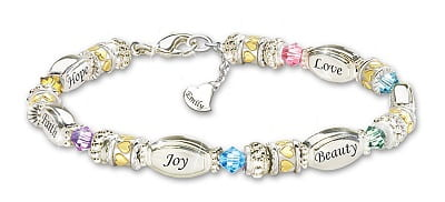 Bracelet With Name-Engraved Charm And Crystals
