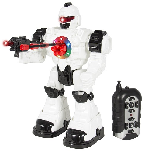 RC Walking and Shooting Robot Toy with Lights and Sound Effects