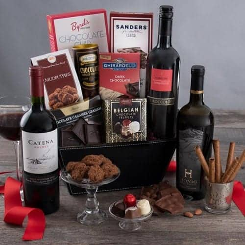 Red Wine and Dark Chocolate Gift Basket - Gifts For Wine Lovers - Gifts For Chocolate Lovers - Gifts For Women Over 50