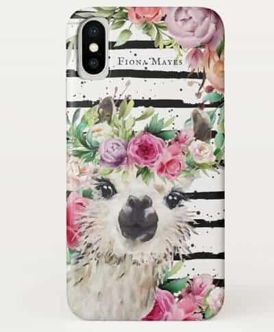 Cute Watercolor Llama Monogram Case-Mate Phone Case