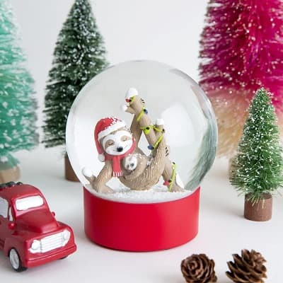 Festive Sloth and Baby Snow Globe