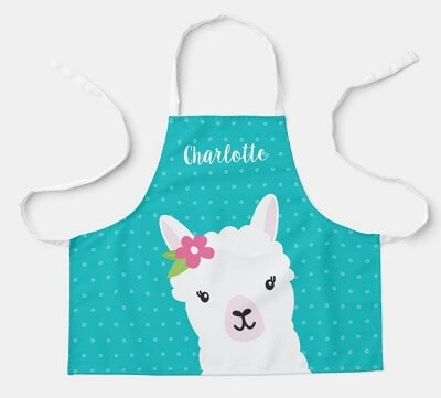 Floral Llama Personalized Apron for Kids