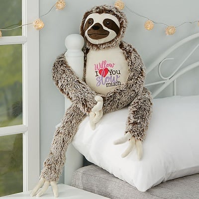 I Love You Slow Much Personalized Long Legged Sloth Stuffed Animal