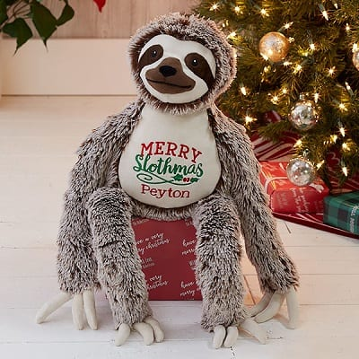 Merry Slothmas Personalized Sloth Stuffed Animal