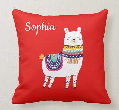 Personalized Llama Throw Pillow