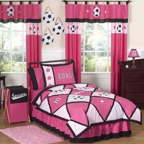 Pink Soccer Comforter Set - Sporty Girl Bedroom Theme