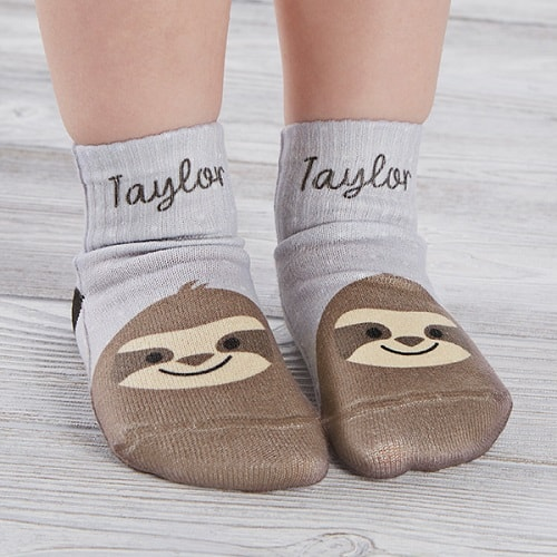 Sloth Personalized Toddler Socks