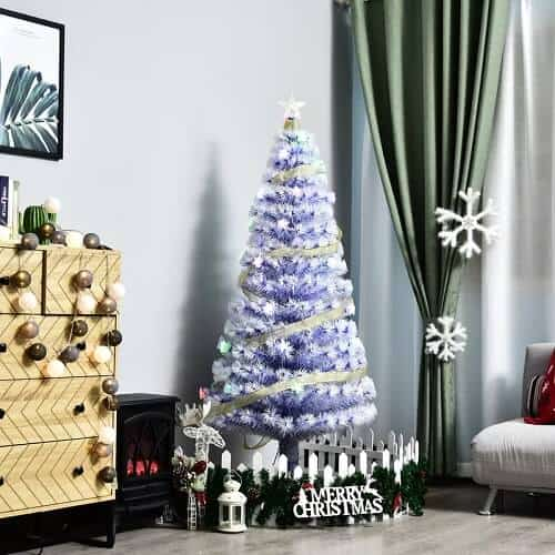 5 ft. Ice Blue Fir Artificial Christmas Tree with 280 LED Multi-Colored Lights