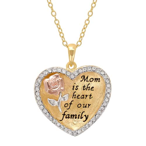Mom Is The Heart Of Our Family Heart Pendant Necklace - Jewelry Gifts for Moms