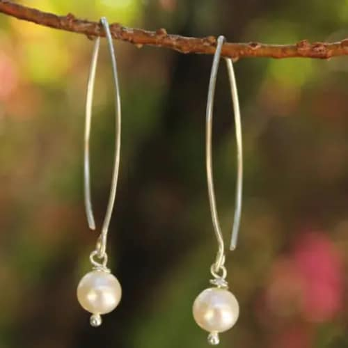 Pearl and Sterling Silver Dangle Earrings - Handcrafted Jewelry Gift for Mom