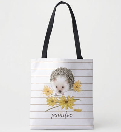 Personalized Hedgehog Tote Bag - Hedgie Lovers Gift Ideas