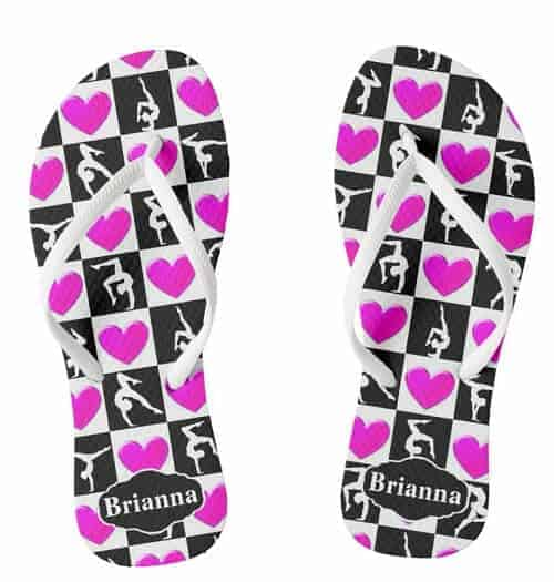 Pretty Pink Heart Personalized Gymnast Flip Flops