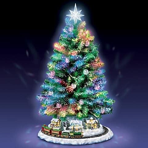 Thomas Kinkade Holiday Sparkle Tabletop Fiber Optic Christmas Tree