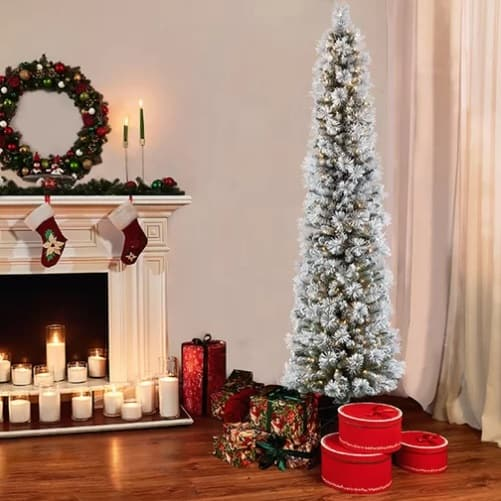 slimline white snow effect christmas trees