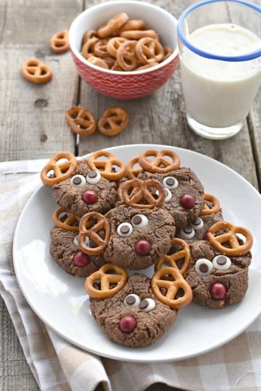 Chocolate Peanut Butter Reindeer Cookies