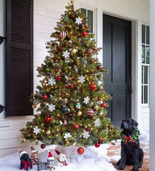 Lighted Outdoor Spruce Faux Christmas Tree