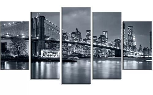 New York City at Night 5 Piece Wall Art