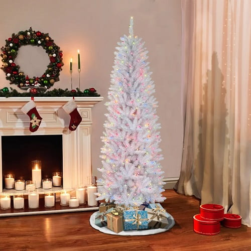 Pencil Slim White Christmas Tree with Multi-Color Lights