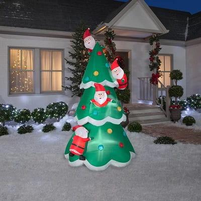 9ft. Inflatable Christmas Tree with Santas