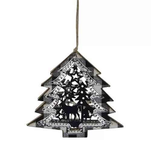 Black And White Buffalo Plaid Christmas Tree Shaped Reindeer Ornament