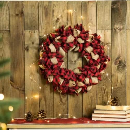 Buffalo Plaid Christmas wreath with Burlap
