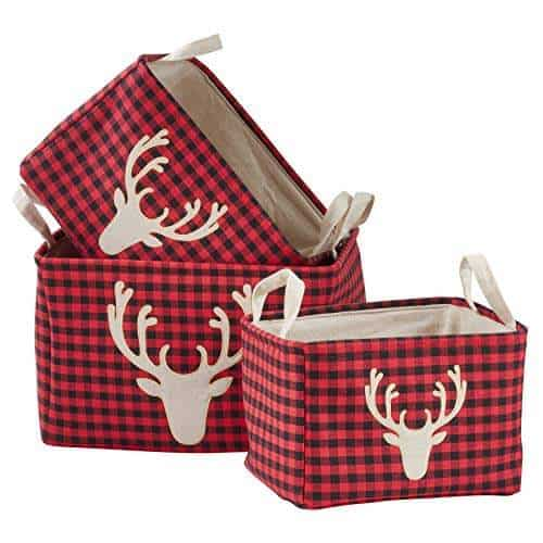 Buffalo Plaid Reindeer Nesting Baskets