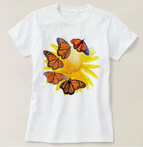Follow The Light Watercolor Monarch Butterfly T-Shirt