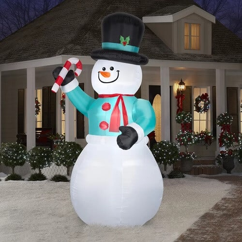 Giant Inflatable Snowman with Candy Cane
