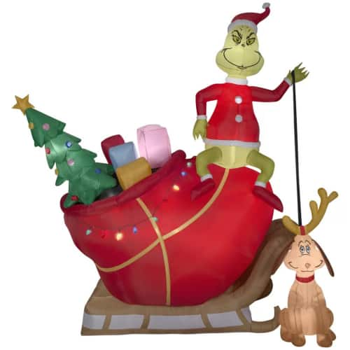 The Grinch and Max in Sleigh Giant Inflatable | Large outdoor blow up Christmas decorations